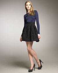 Zac Posen Plisse Flare Party Skirt - Lyst