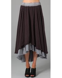 Free People The Checkered Plaid High Low Maxi Skirt - Lyst