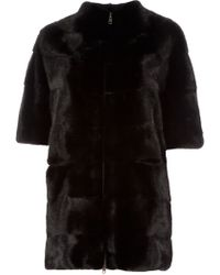 Liska Black Fur Coat - Lyst