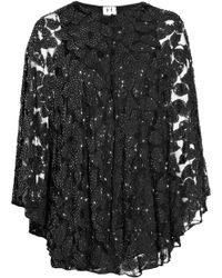 Halston Heritage Bead-embellished Lace Cape Dress - Lyst