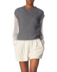 3.1 Phillip Lim Embellished Wool Sweat Top - Lyst