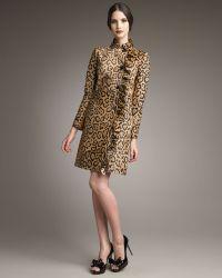 Valentino Leopard-print Leather Coat - Lyst