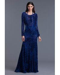 Oscar de la Renta Burnout Velvet Longsleeve Gown - Lyst