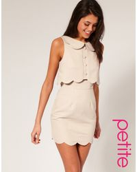 ASOS Collection Asos Petite Pique Chelsea Scalloped Shift Dress - Lyst