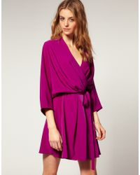 ASOS Collection Asos Wrap Dress with Kimono Sleeves - Lyst