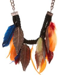 ASOS Collection Asos Statement Metal Feather and Multi-coloured Feather Necklace - Lyst