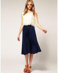 ASOS Collection Asos Pleated Midi Skirt - Lyst