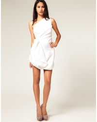 River island white one shoulder grecian dress