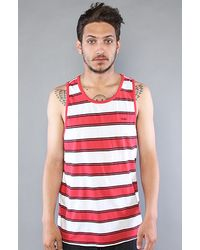 RVCA The Phill Up Tank in White & Red Fade - Lyst