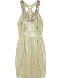 Matthew Williamson Embellished Woven Metallic Mini Dress - Lyst