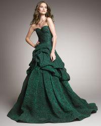 Monique Lhuillier Tufted-skirt Strapless Gown - Lyst