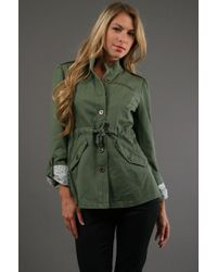 Tulle Drawstring Jacket in Olive  - Lyst