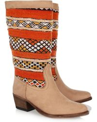 Cobra Society Hand-woven Wool and Brushed-leather Boots beige - Lyst