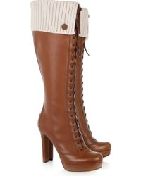 Gucci Lace-up Leather Knee Boots - Lyst