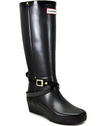 Hunter Andora - Black Rubber Wedge Rain Boot - Lyst