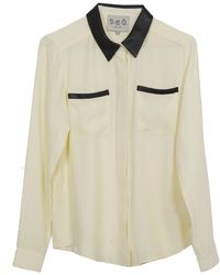 Sea Leather and Silk Blouse beige - Lyst