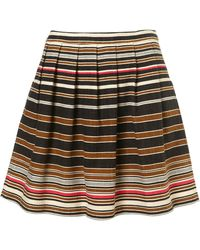 Topshop Premium Stripe Mini Skirt - Lyst