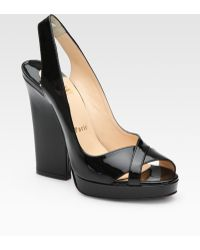 Christian Louboutin Patent Leather Platform Slingbacks - Lyst