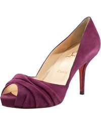 Christian Louboutin Ruched Peep-toe Suede Pump - Lyst