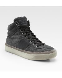 Jimmy Choo High-top Flannel Sneakers with Shearling - Lyst