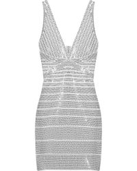 Hervé Léger Sequined Bandage Mini Dress gray - Lyst