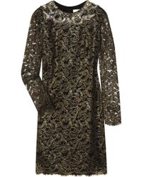 Marchesa Embellished Stretch-silk and Lace Dress gold - Lyst