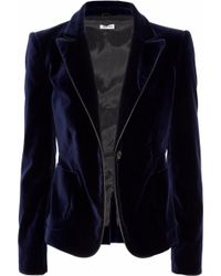 Miu Miu Leather-trimmed Velvet Blazer - Lyst