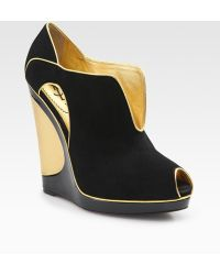 Saint Laurent Suede Cutout Wedge Ankle Boots - Lyst