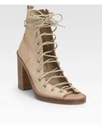 Ann Demeulemeester Leather Open-front Sandal Boots - Lyst