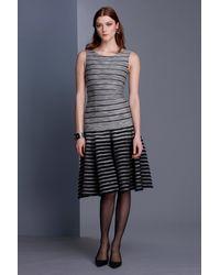 Oscar de la Renta Boatneck Banded Dress - Lyst