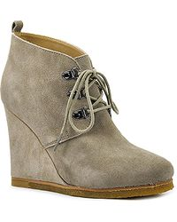 Steve Madden Tanngoo - Taupe Suede Wedge Bootie - Lyst