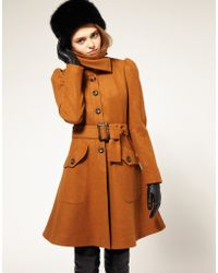 ASOS Collection Asos Fit and Flare Coat with Belt - Lyst