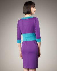 Bigio Collection - Three-quarter Sleeve Colorblock Dress - Lyst
