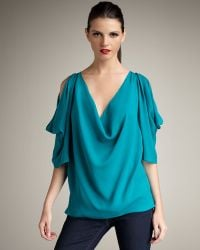 Haute Hippie Cold-shoulder Silk Blouse - Lyst
