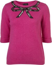 Topshop Knitted Lace Bow Jumper - Lyst