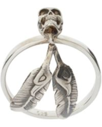 Zoe & Morgan Skull Feathers Ring - Lyst