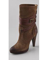 Frye Harlow Mid Heel Boots - Lyst