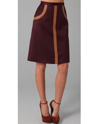 Raoul - Graphic Combo Skirt with Leather Trim - Lyst