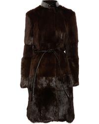 Burberry Prorsum - Rabbit and Patent-leather Coat - Lyst