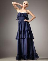 Halston Heritage Tiered Gown - Lyst