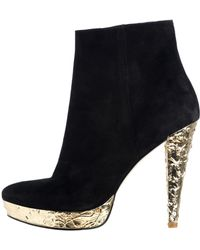 Reiss Gold Heel Boot - Lyst