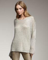 Vince Metallic Knit Sweater - Lyst