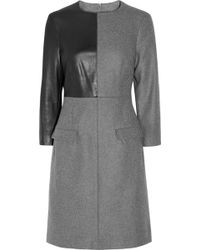 McQ by Alexander McQueen Leather-paneled Wool-blend Dress - Lyst