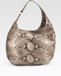 MICHAEL Michael Kors Embossed Python Leather Hobo - Lyst