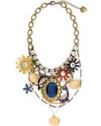 Betsey Johnson Mermaids Tale Charm Bib Necklace multicolor - Lyst