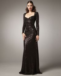 David Meister Portrait-neck Beaded Gown - Lyst