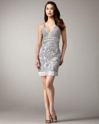 Sue Wong - V-neck Floral Applique Dress - Lyst