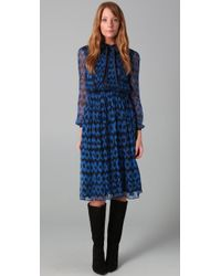 Adam Leopard Print Dress with Neck Tie - Lyst