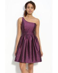 Eliza J One Shoulder Taffeta Dress - Lyst