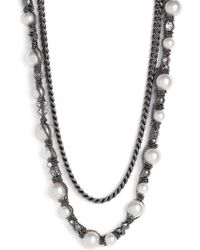 Givenchy Vanguard Faux Pearl & Chain Necklace - Lyst